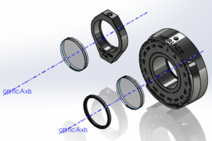 Exploded view of the two polarizers and mounts